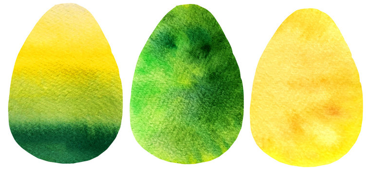 illustration watercolor Easter eggs silhouette.