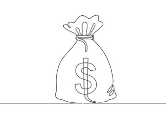 Continuous one drawn single line money bag