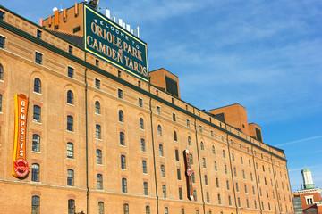 BALTIMORE, USA - DECEMBER 7, 2019: Warehouse building on Oriole Park at Camden Yards in Baltimore, Maryland on December 7, 2019. Oriole Park is a Major League Baseball ballpark.