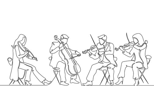 Continuous one single line drawn musical quartet violin musicians