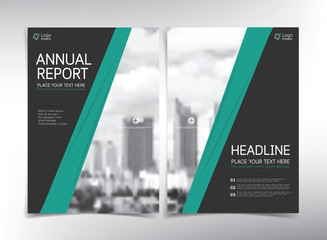 Modern business cover page, vector template, black and green theme