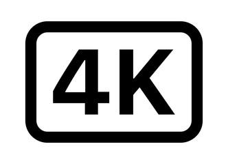 4K UHD video image resolution or media badge label line art vector icon for apps and websites
