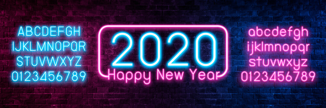 Neon Light Symbol Happy New Year 2020. Collection New Year neon signs.Celebration Concept.