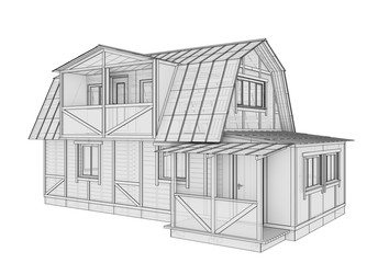 3D illustration of a small frame house