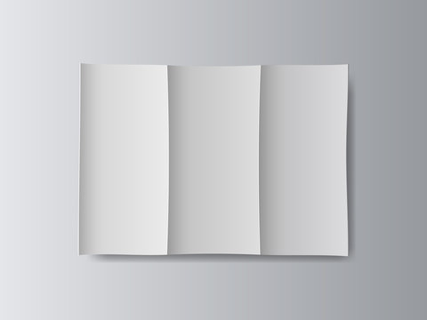 White stationery blank tri fold paper size a4 brochure on gray background with soft shadows. Vector illustration.