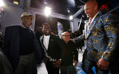 "Cast members Glover, Hart, DeVito and Johnson attend the premiere for the film ""Jumanji: The Next Level"" in Los Angeles"