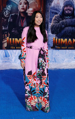 "Cast member Awkwafina poses at the premiere for the film ""Jumanji: The Next Level"" in Los Angeles"