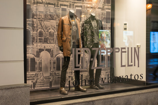 Moscow, Russia - December 9, 2019: John Varvatos storefront with Led Zeppelin collection.