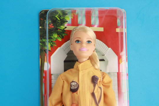Saragossa Spain. August 5, 2019, Barbie doll, fireman