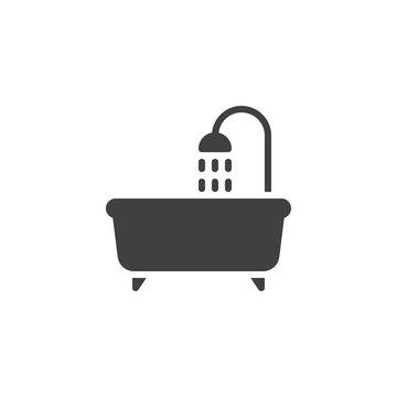 Bathtub shower vector icon. filled flat sign for mobile concept and web design. Bathroom bath glyph icon. Symbol, logo illustration. Vector graphics