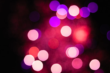 Holographic abstract background with bright bokeh pattern. Neon line. Festive Christmas new year...