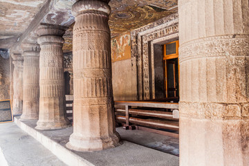 Buddhist cave 2 carved into a cliff in Ajanta, Maharasthra state, India