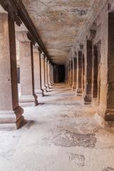 ELLORA, INDIA - FEBRUARY 7, 2017: Archways at Kailasa Temple in Ellora, Maharasthra state, India