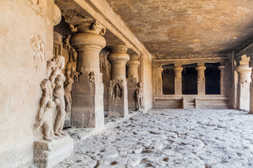ELLORA, INDIA - FEBRUARY 7, 2017: Carvings in a cave monastery in Ellora, Maharasthra state, India