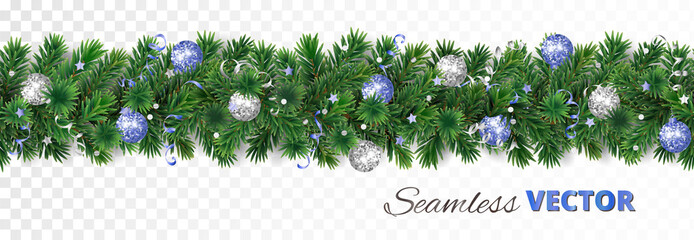 Vector Christmas decoration. Pine tree garland with blue and silver ornaments