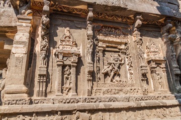 Carvings at Kailasa Temple in Ellora, Maharasthra state, India