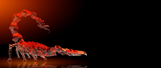 poisonous emperor scorpion of wildlife, 3d rendering of crystal glass coating in dark background