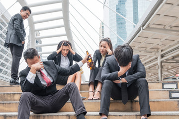 Group business person conflict stress in work,  Holding alcohol bottle, Businessman stand contempt.