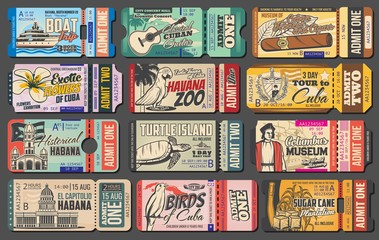 Retro ticket vector templates of Cuba travel design. Cuban tobacco and cigar museum entrance coupon, Havana zoo and guitar concert pass cards, turtle island boat trip invitation design