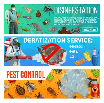 Pest control disinfestation and deratization health sanitary service, vector web banners. Domestic insects ticks, bugs and cockroach disinfection, agrarian fumigation, rats and mouse extermination