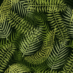 Foto op Canvas Tropische Bladeren Seamless pattern with green tropical leaves on the dark background.