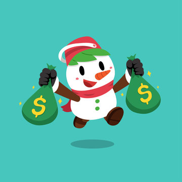 Merry Christmas vector cartoon snowman holding money bags for design.