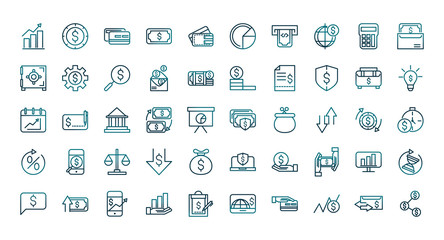 economy business financial trade money icons set gradient line Fotomurales