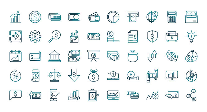 economy business financial trade money icons set gradient line