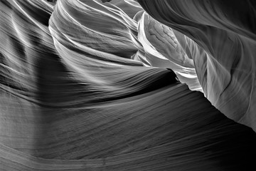 Black and white creative photography of Antelope canyon in Arizona, USA. Abstract photo, art,...