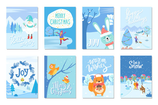 Eight winter postcards that greeting with xmas. Captions that wishing happy winter holidays, merry christmas and joy. Snowman and birds, squirrel and hare, people on cards. Vector illustration in flat
