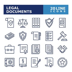 Legal documents icons. Law and justice line icon set. Vector illustration. Editable stroke.