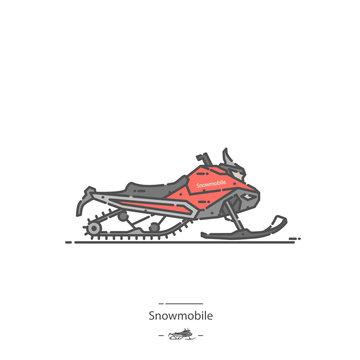 Snowmobile - Line color icon