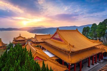 Wall Mural - Wenwu temple and Sun moon lake at sunset, Taiwan.