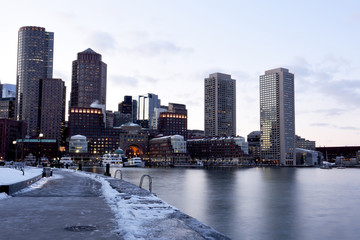 Fototapete - Winter view of Boston from the bay and promenade. USA. Massachusetts.