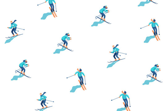 Winter vacation background with skiers on mountain. Mountain sport activities. Vector illustration.
