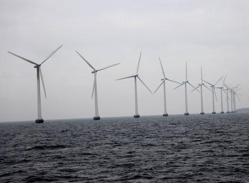 Middelgrunden offshore wind farm is pictured outside Copenhagen