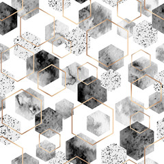 Seamless abstract geometric pattern with gold foil outline and gray watercolor hexagons