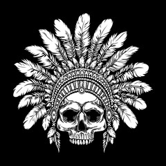 Tattoo illustration of indian warrior skull in feathers hat. Native american chief background