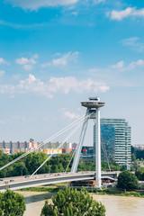 In de dag UFO UFO Observation Deck and bridge on Danube river in Bratislava, Slovakia