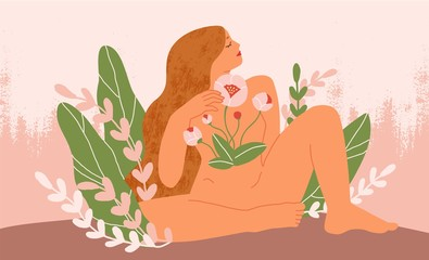 Female blooming from within flat vector illustration. Nude woman with flowers growing from chest. Girl with long hair, unity with mother nature symbol. Femininity, prosperity and self love concept.