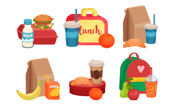 School Lunch Boxes Collection, Snacks Bags with Healthy Food for Kids Vector Illustration