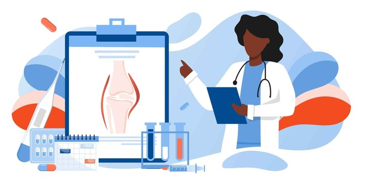 Doctors research human bones. Joint knee part pain. Human anatomy health care medical concept. World arthritis day in October, Osteoporosis banner. Orthopedics doctor. For landing page, banner