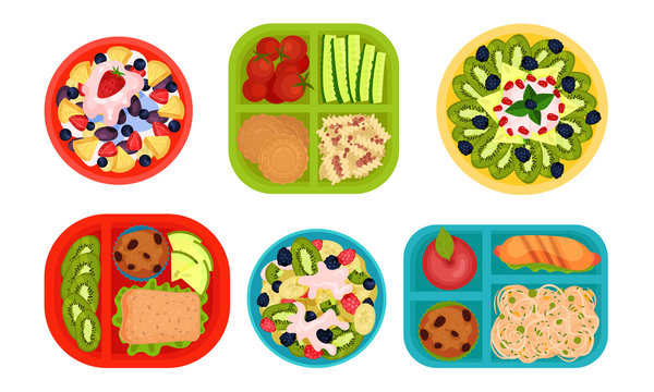 School Lunch, Lunch Trays for Students with Healthy and Tasty Products, Top View Vector Illustration