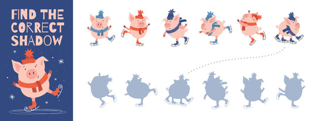 Find the right shadow from a fun pig. Simple children's game for comparing and connecting objects and their true shadows. Educational illustration for preschool education on white isolated background.