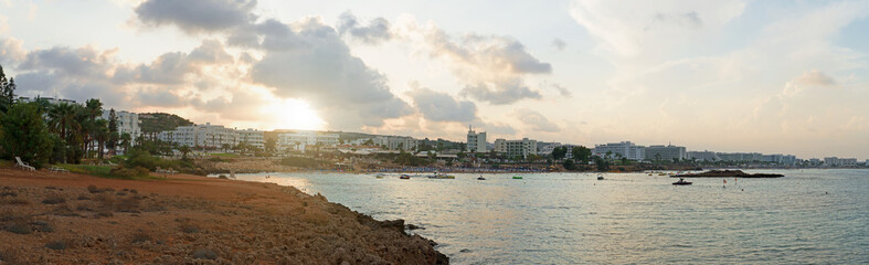 Panoramic view of Fig Tree Beach in Protaras. One of the popular beaches in Europe.