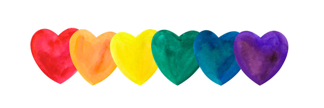 watercolor hearts with  LGBT colors