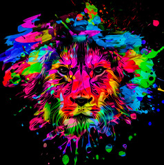 Poster Lion artistic lion on black background