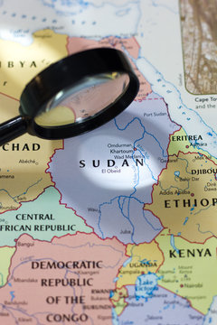 Sudan on the map of the world.