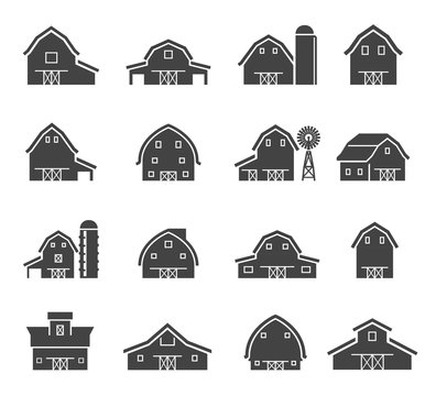 Rural barn building silhouettes glyph icons set
