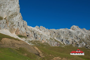 Landscape in Picos de Europa at the trail Puertos de Aliva in Cantabria,Spain,Europe